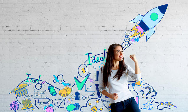 Girl with business ideas shutterstock_604427873