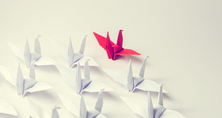 leadership illustration of paper cranes