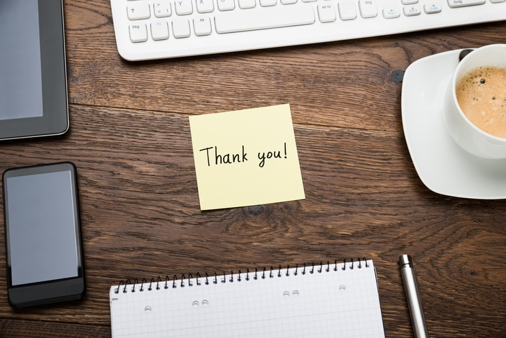 Sticky Note that says thank you