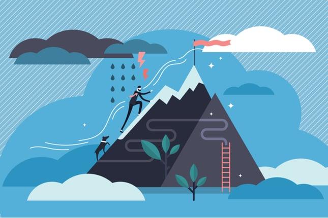 man climbing mountain illustration