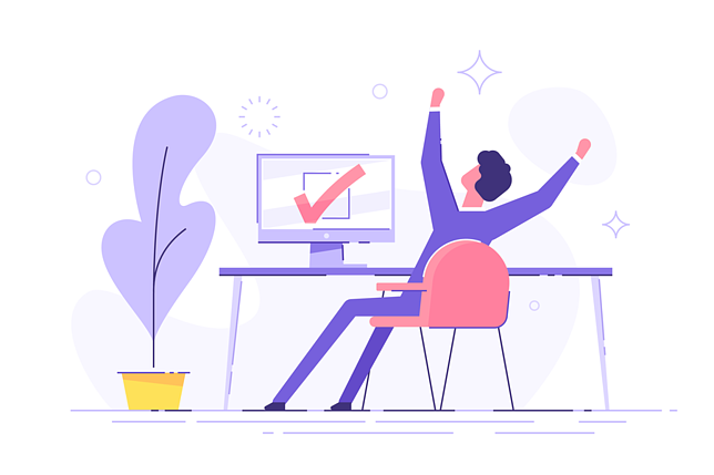 happy worker at the computer illustration