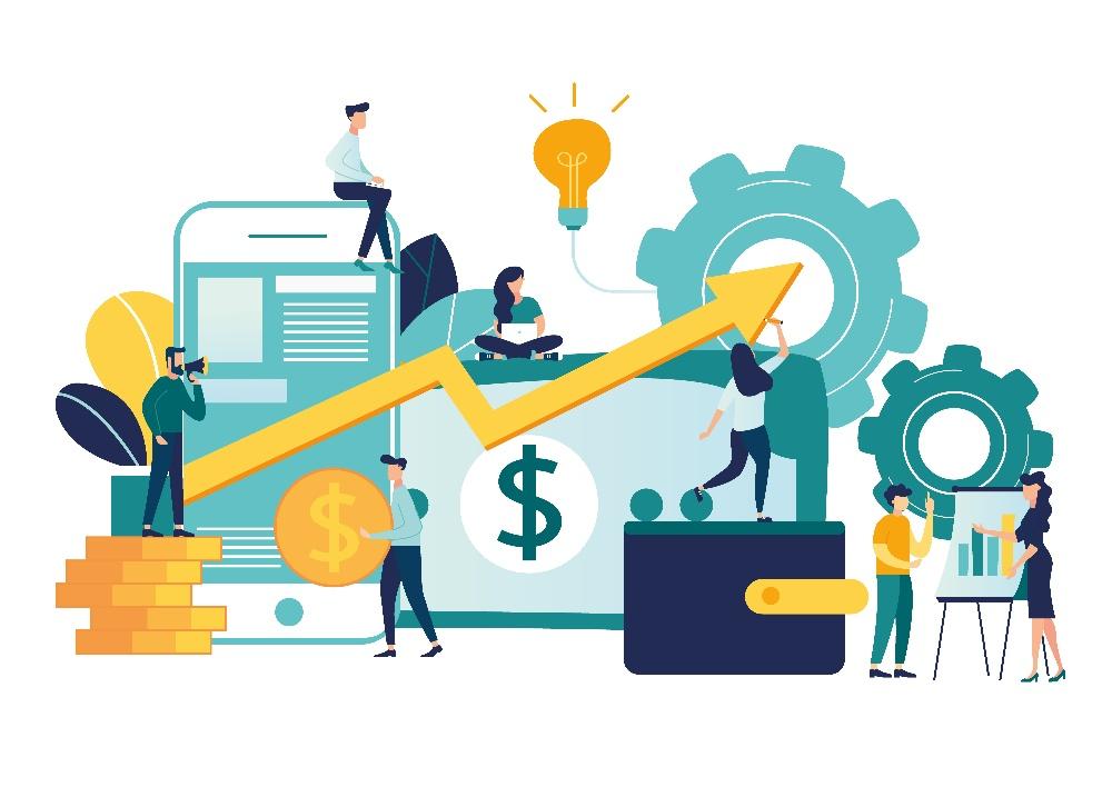 Illustration of team working on marketing