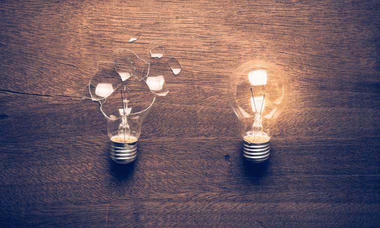 broken and working light bulbs