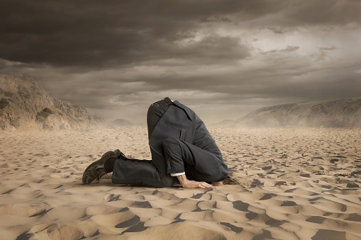 business man with head in sand